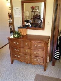 Ethan Allen Serpentine Dresser with Mirror