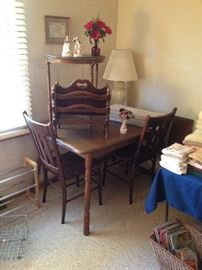 Vintage Dark Oak Kitchenette/Dining Table with One Leaf; Pair of Oak Side Chairs; Wood Magazine Rack; Demilune Table and more