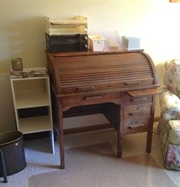 Oak Roll Top Desk, Office Supplies, Laminate Shelf