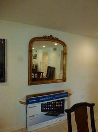Gilt wood  gesso overmantle mirror
