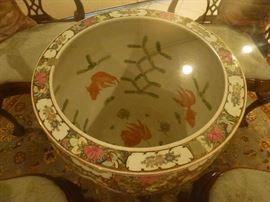 Asian urn top 20 inches diameter  48 inch diameter glass top X 30H