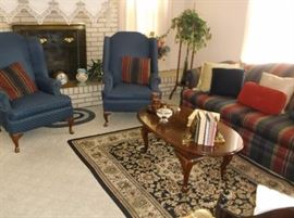 Pair of blue wing back chairs