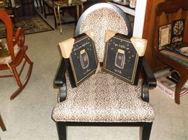 Leopard print side chair with arms