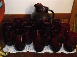 Royal ruby glass pitcher and tumblers