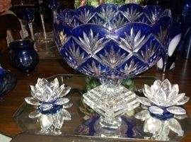 Cobalt cut to clear crystal punch bowl