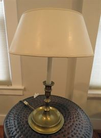 Antique desk lamp with heavy brass base.