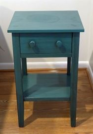Teal wood nightstand