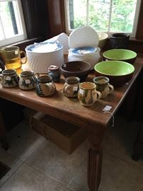 Old wooden table Big selection of dishes