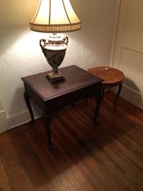 Vintage mahogany end table and lamp