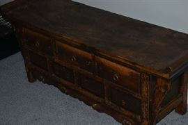 Antique Chinese Chest Handmade Butterfly Alter/ Sideboard (due to age of wood and rectangular pegs-possibly 1700-1800's)