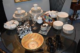 Crown Ming Jian Shiang Service for 12 China, Crystal Stemware, Stoneware Bowl
