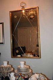 Italian Vintage Mirror with Diamond Center & Flowerettes