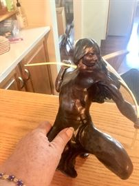 Signed bronze Native American figure preparing to hunt