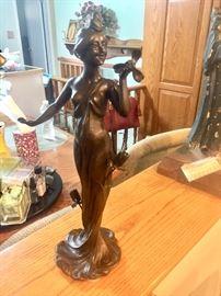 Art nouveau signed bronze restrike