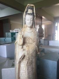 Very large bone quan yin vintage figure