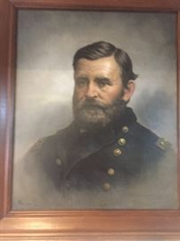 Signed full life size portrait of U.S. GRANT signed by American Canadian artis Alfred BOISSEAU