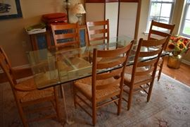 Designers glass top dining room table and chairs were Sold on line prior to the one day sale!!