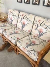 Gorgeous CALIF-ASIA MID CENTURY RATTAN BAMBOO SET W NEW CUSHIONS