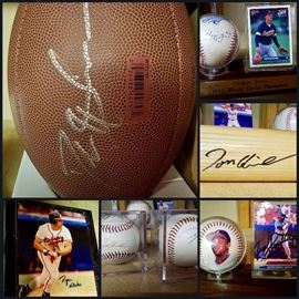 Autographed Footballs, Baseballs, Bat, Cards and Pics! Deion Sanders, Chipper Jones & so many more!