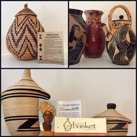Zulu and Rwanda Baskets, Pottery