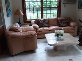 leather living room furniture, marble top coffee table