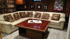 Vintage fine leather sectional
