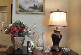 There are many pretty accent lamps throughout the home.  The hand painted mug shown here was produced between 1892 and 1921.  It was decorated in Germany and is artist signed.