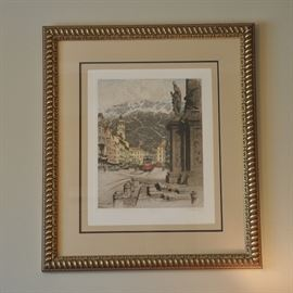 Very large framed European color etching signed by the artist.  The artist, Josef Eidenberger is a well know artist born in 1899 and died in 1991.