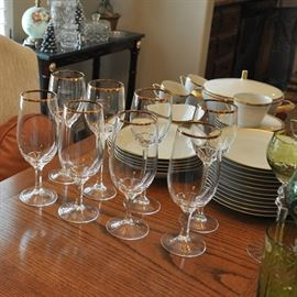 There is gold trimmed stemware that goes well with the china.