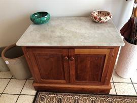 Custom Made Cherry Wood Cabinet with Marble Top