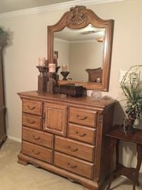 Carved landscape mirror and chest of drawers