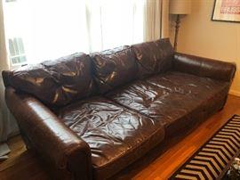 RH Maxwell Leather Three Seat Cushion Sofa