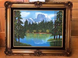Beautiful Yosemite Half Dome Oil Painting