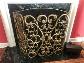 Gold ormolu scrolled Fire place screen