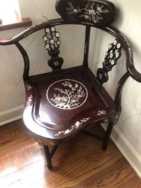 Rosewood Corner chair with mother of pearl decor
