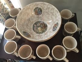 Serving bowl with 10 matching cups.