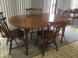 Country table and four chairs.