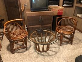 Mid Century to Retro Rattan Seating with Table