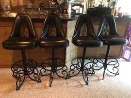 Mid Century or Retro Bar Stools in Black metal with Vinyl/Pleather Seats