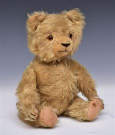 "Mohair Teddy Bear 14"" tall with jointed body and growler early 20th century"