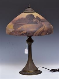 "Obverse Painted Table Lamp    23"" tall base, 16"" diameter shade  early 20th century"