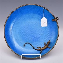 "French Faience Tray    decorated with bronze lizard and dragonfly 10"" diameter early 20th century"