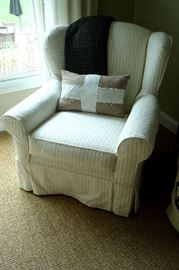 Mitchell Gold striped occasional chair.