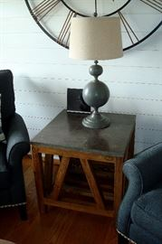 Arhaus granite top table & lamp.