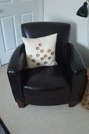 Black leather arm chair.