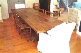 Wilhelm trestle dining table with extension ends from Arhaus. cost $2300.00 in 2016!!
