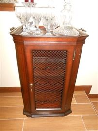 marble top wine cabinet w/ tray top