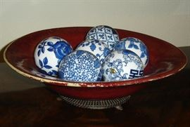 Fitz & Floyd bowl, blue & white porcelain decorator balls