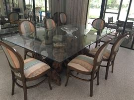 Winevine Wood Glass Top Dining Room Table