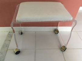 Vintage White Leatherette Upholstered Lucite Vanity Bench with Brass Coasters